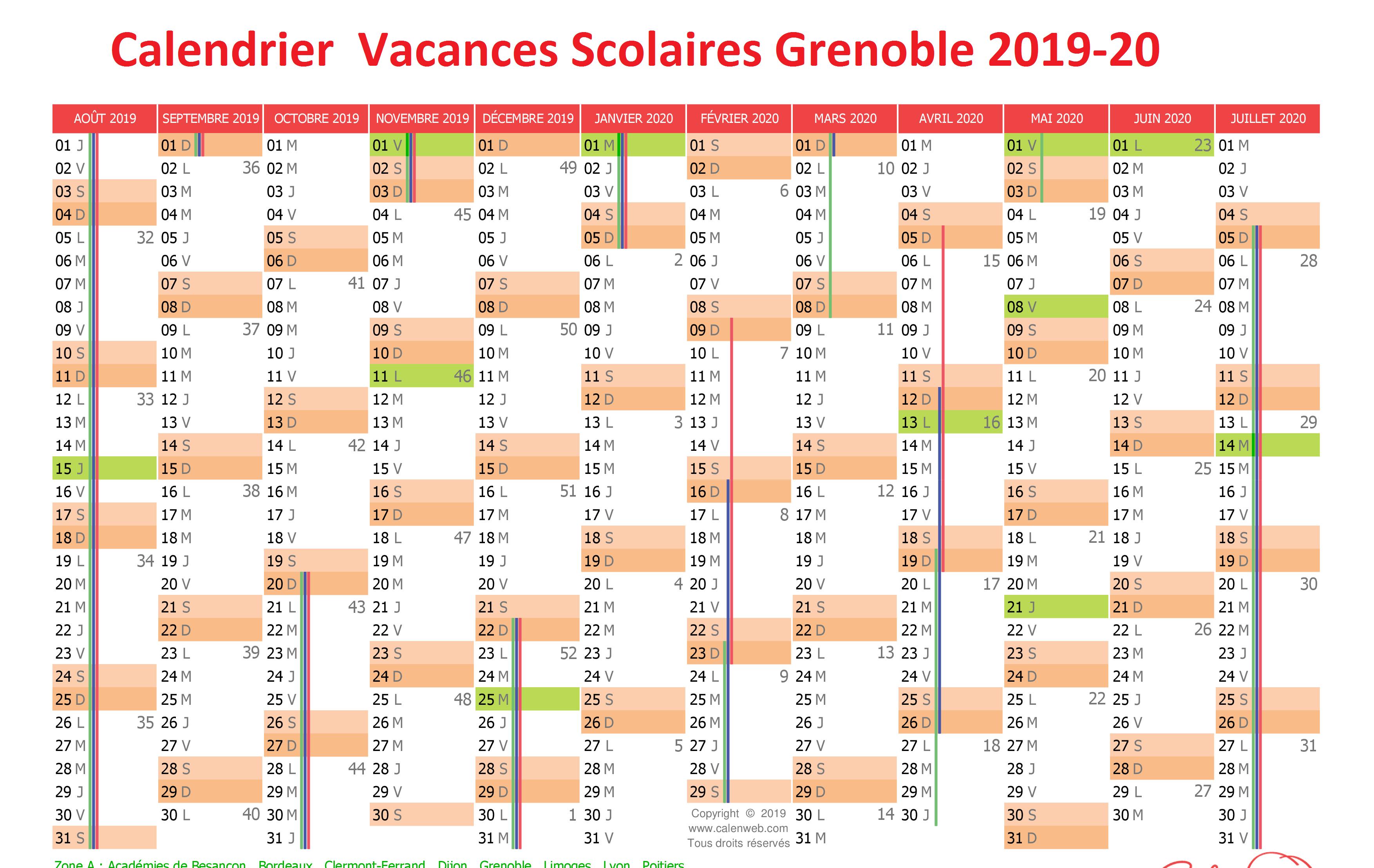 Vacances Scolaires 2019 et 2020 Grenoble