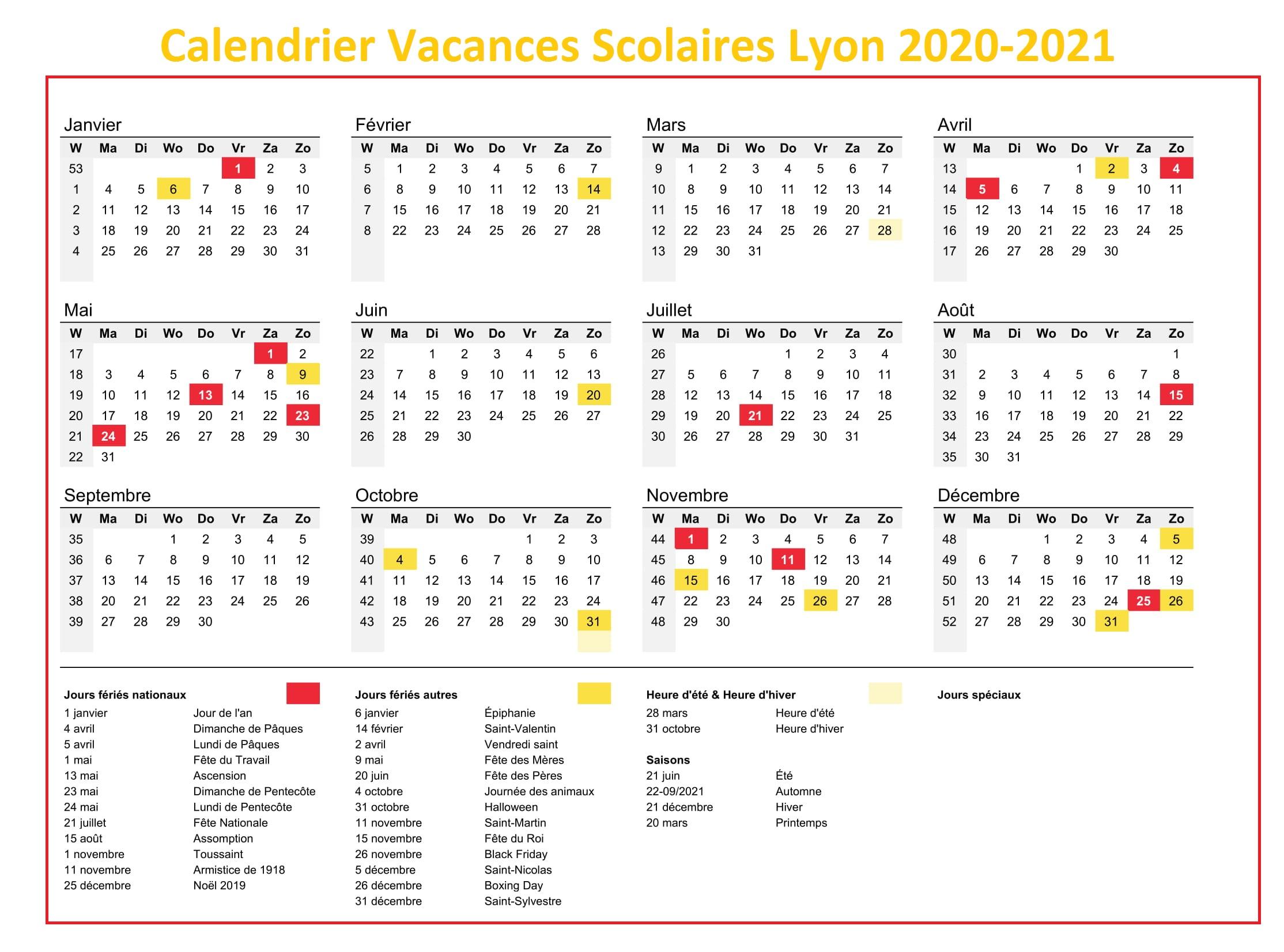 Lyon Calendrier Vacances Scolaires 2020