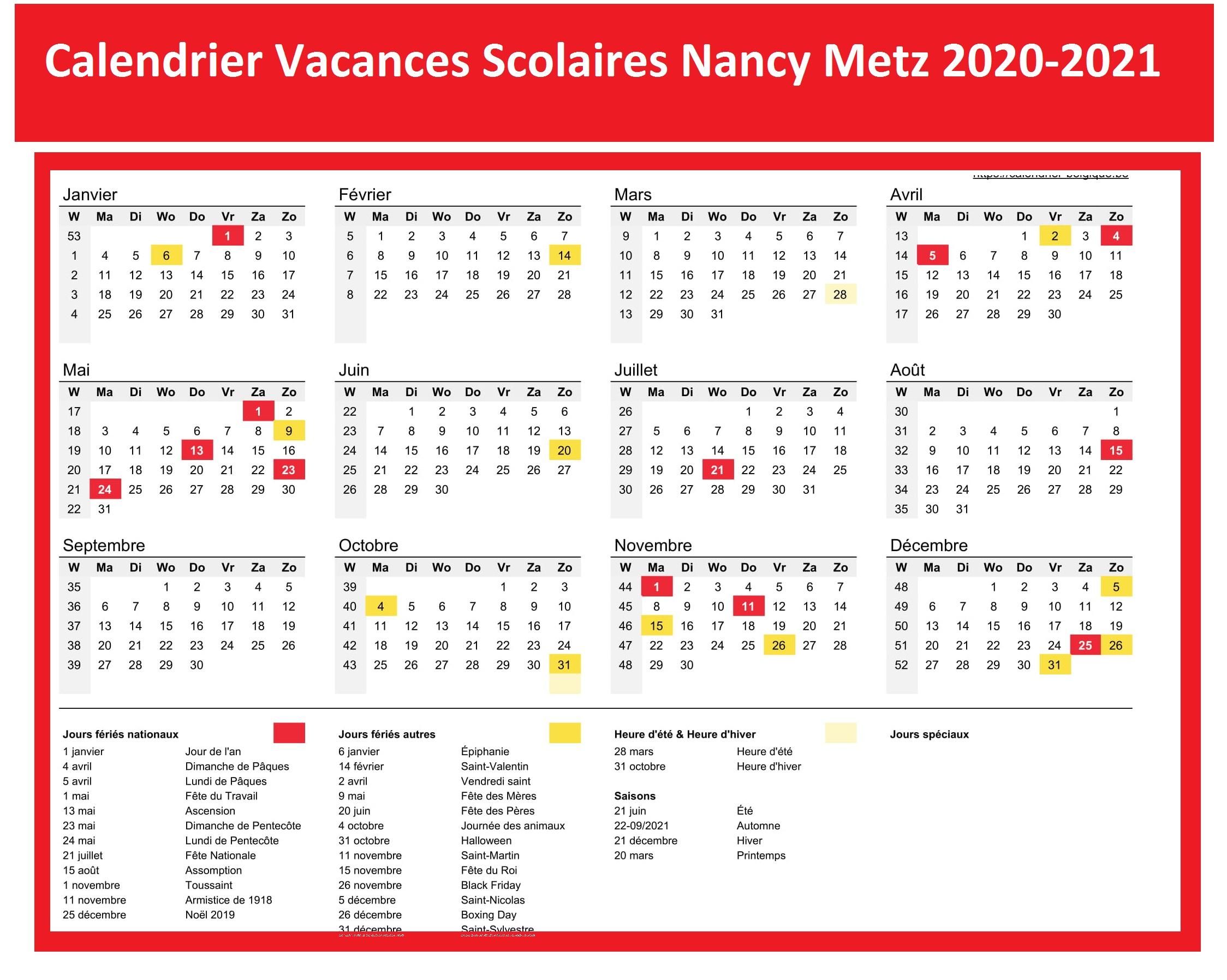 Dates Calendrier Vacances Scolaires Nancy Metz 2020