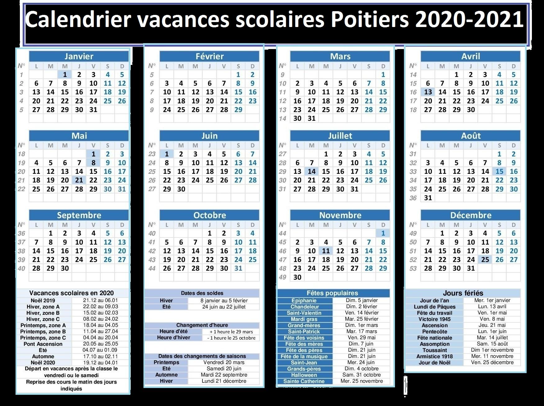 Vacances Scolaires 2019 et 2020 Poitiers