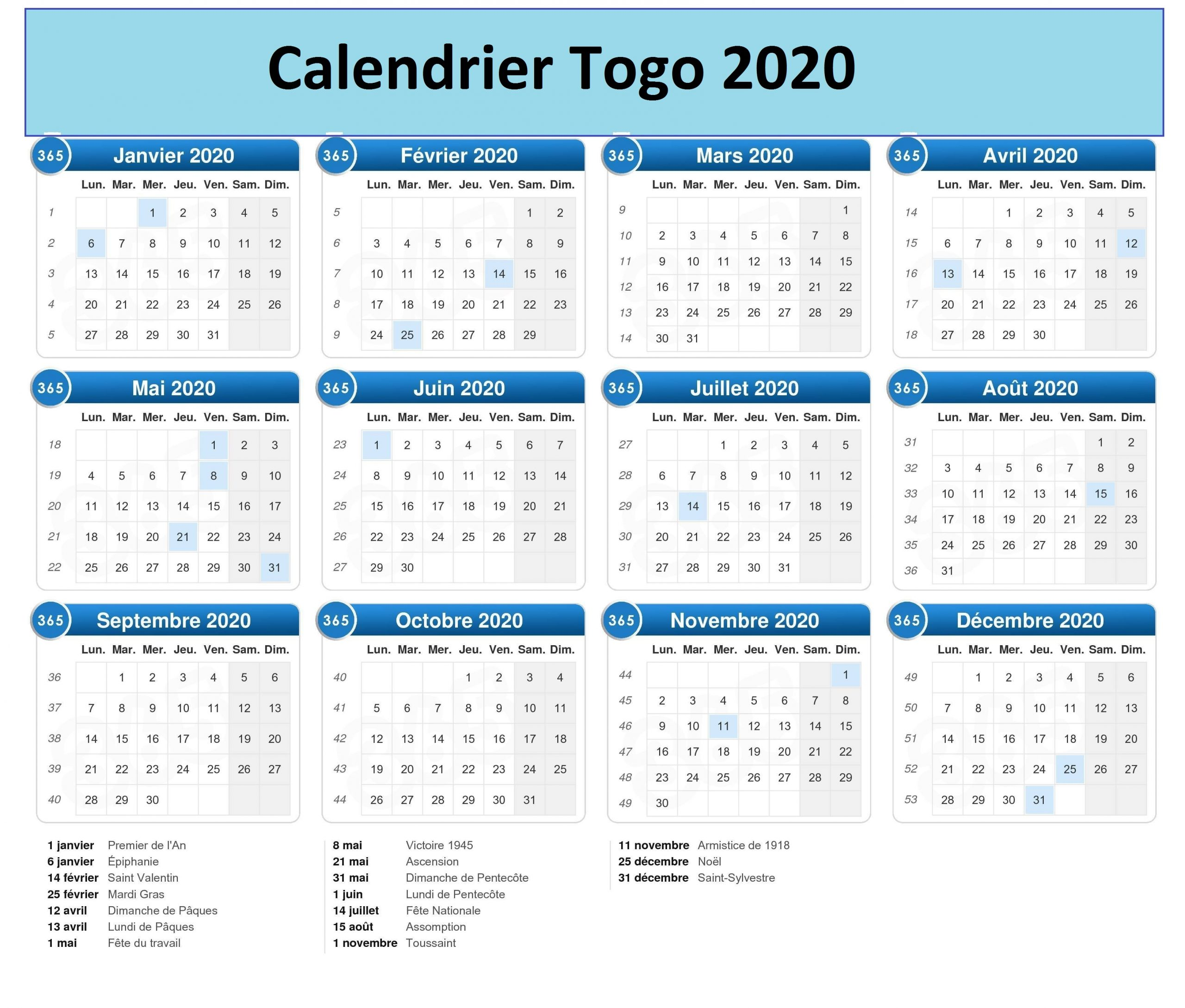 Calendrier Campus France Togo 2020