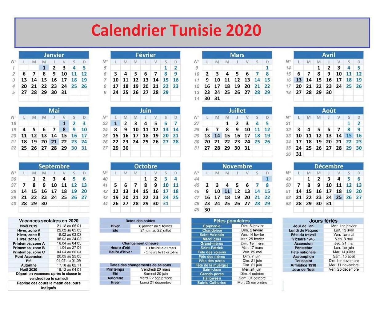 Tunisie Calendrier 2020 Jours fériés