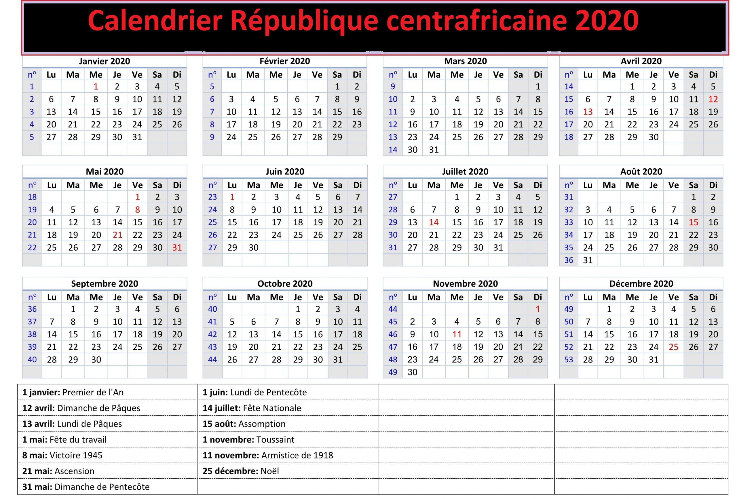 Calendrier de la République centrafricaine 2020 Washington