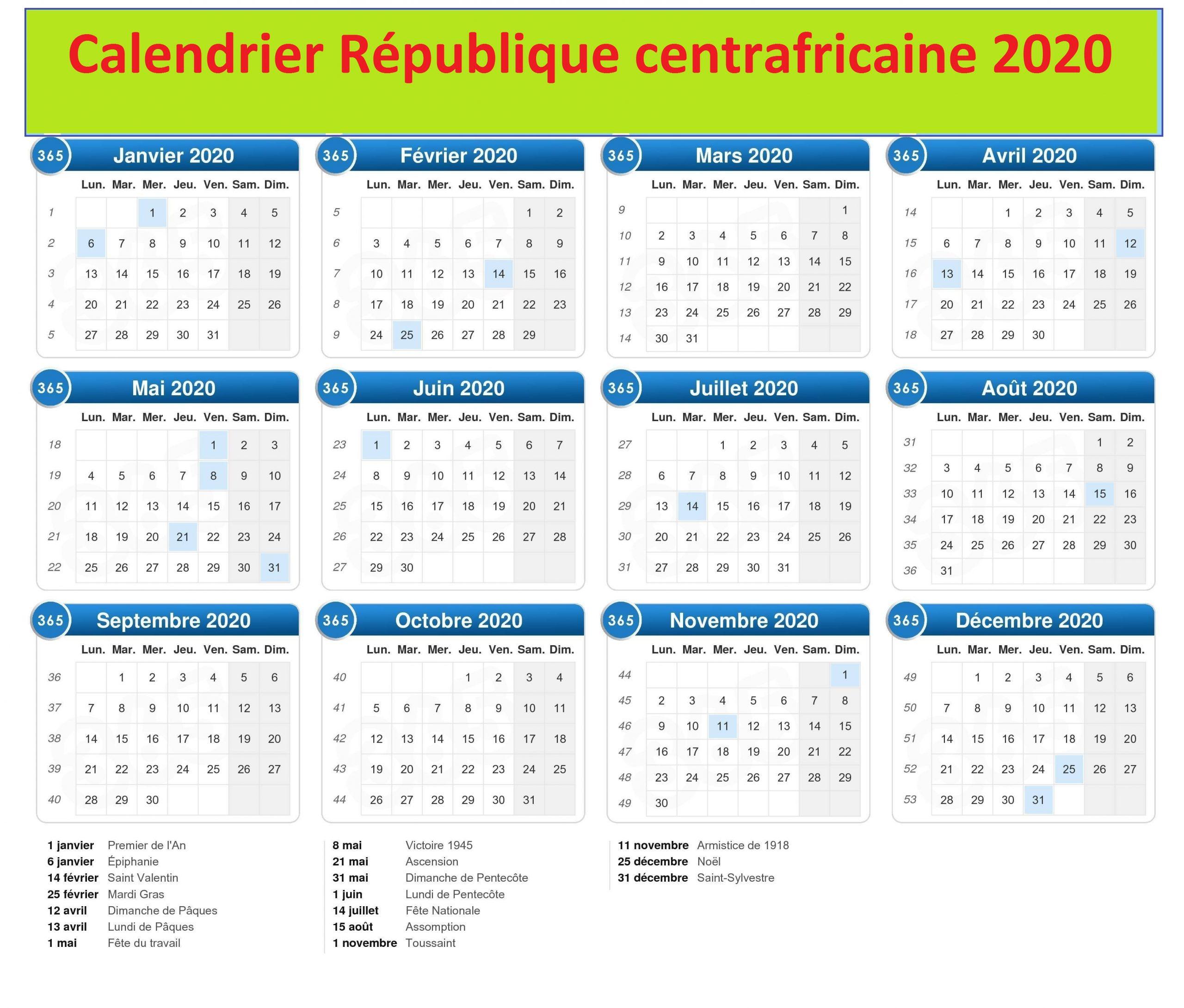 Calendrier de la République centrafricaine 2020 Au Cameroun