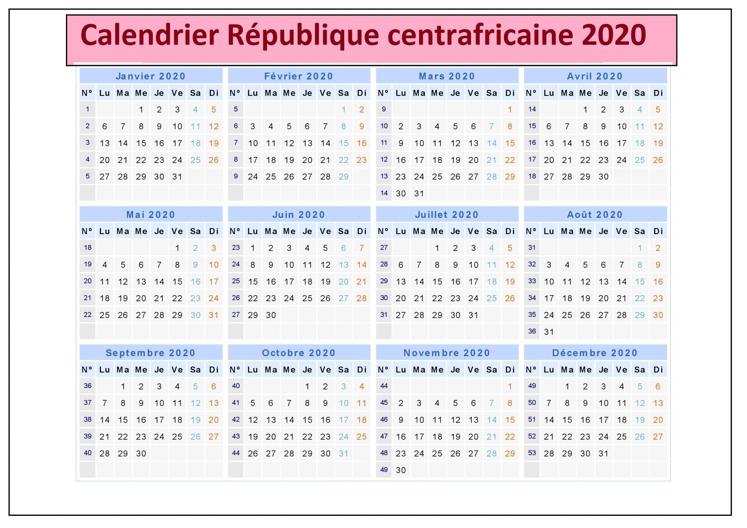 Calendrier de la République centrafricaine 2020