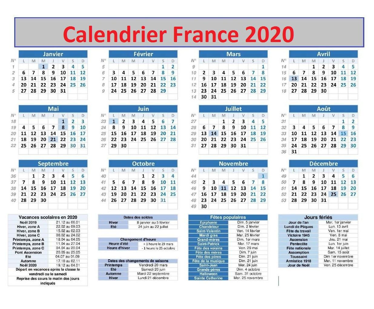 Imprimer Calendrier France 2020