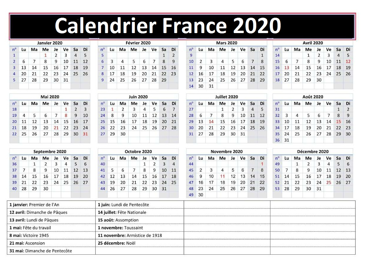 Calendrierdesvacances France 2020