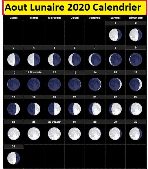Calendrier lunaire Août 2020 Jardinage