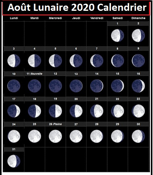 Calendrier lunaire Août 2020 Potager