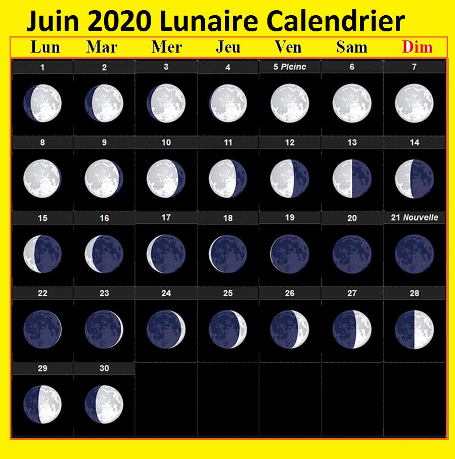 Calendrier lunaire Juin 2020 Gerbeaud
