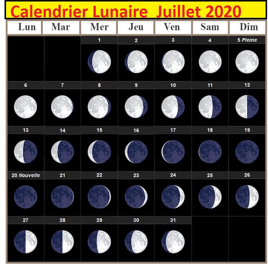 Calendrier lunaire Julliet 2020 Cheveux
