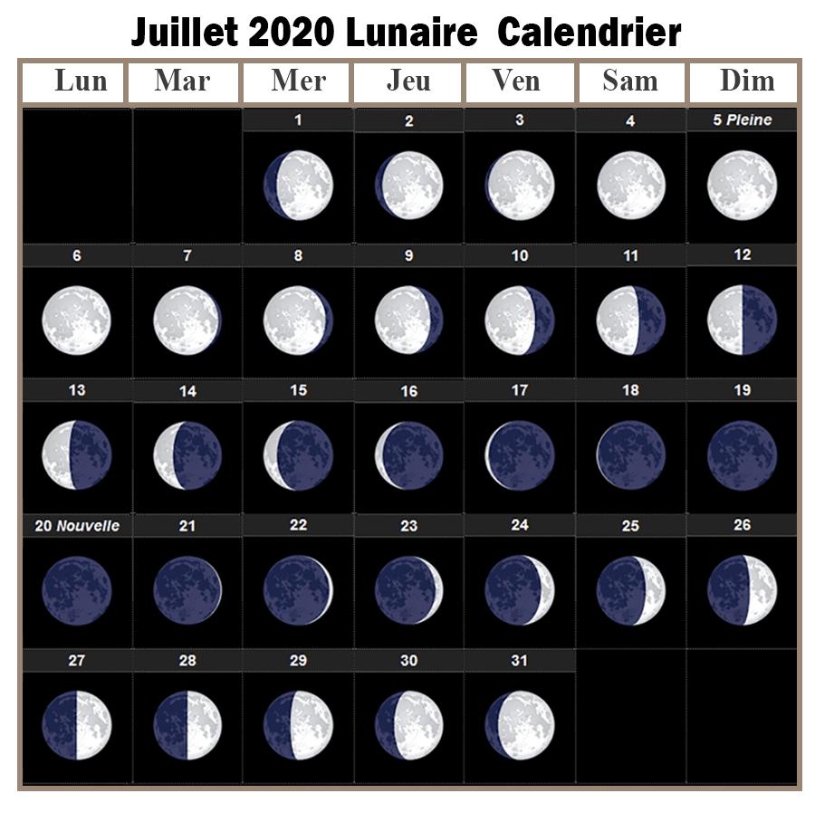 Calendrier lunaire Julliet 2020 Rustica