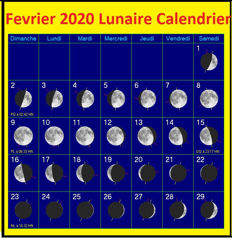 Calendrier lunaire de février 2020