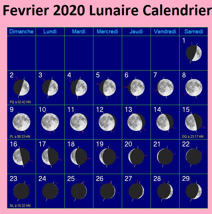 Calendrier Lunaire Fevrier 2020