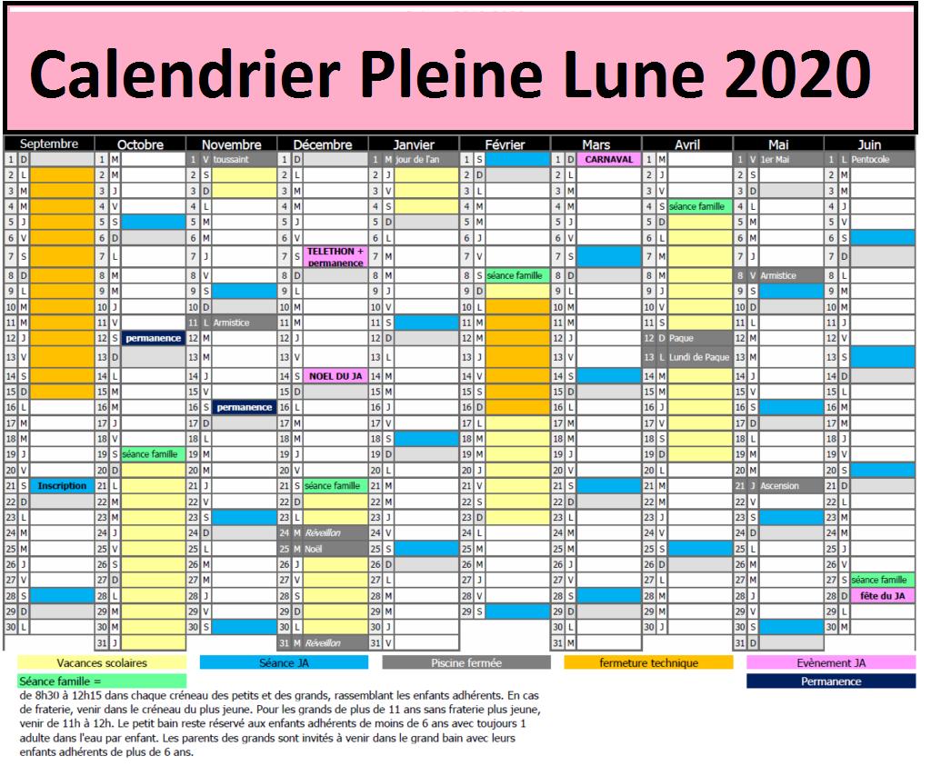 Calendrier pleine lune 2020 Accouchement