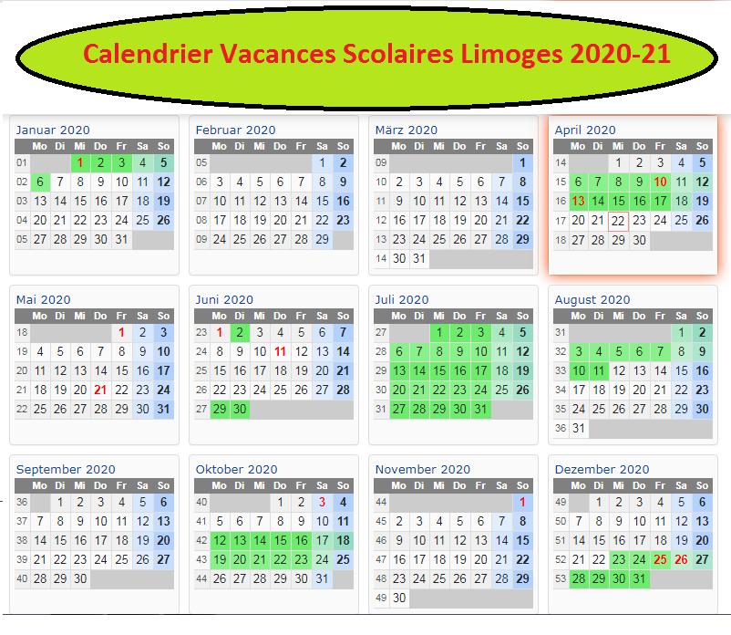 Calendrier Vacances Scolaires 2020 Limoges