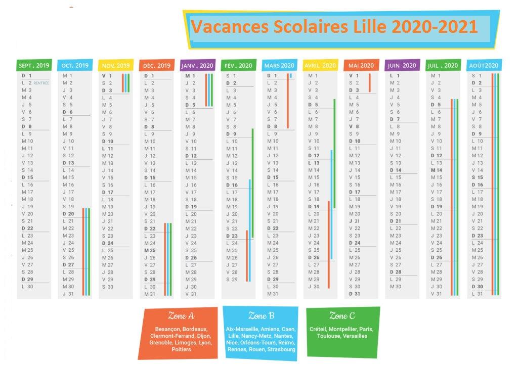 Lille Calendrier scolaire 2020-2021 à Imprimer