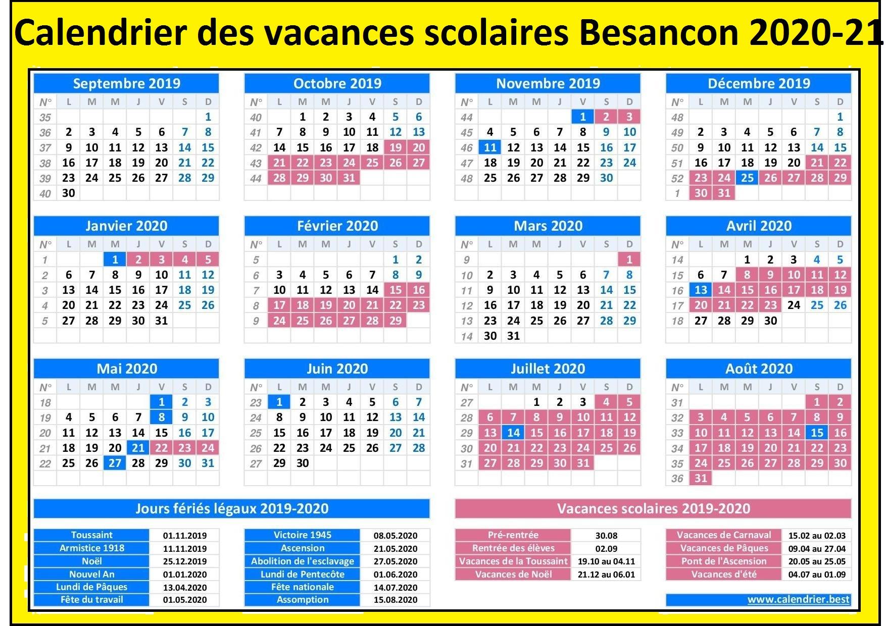 DatesVacancesScolairesBesancon 2020