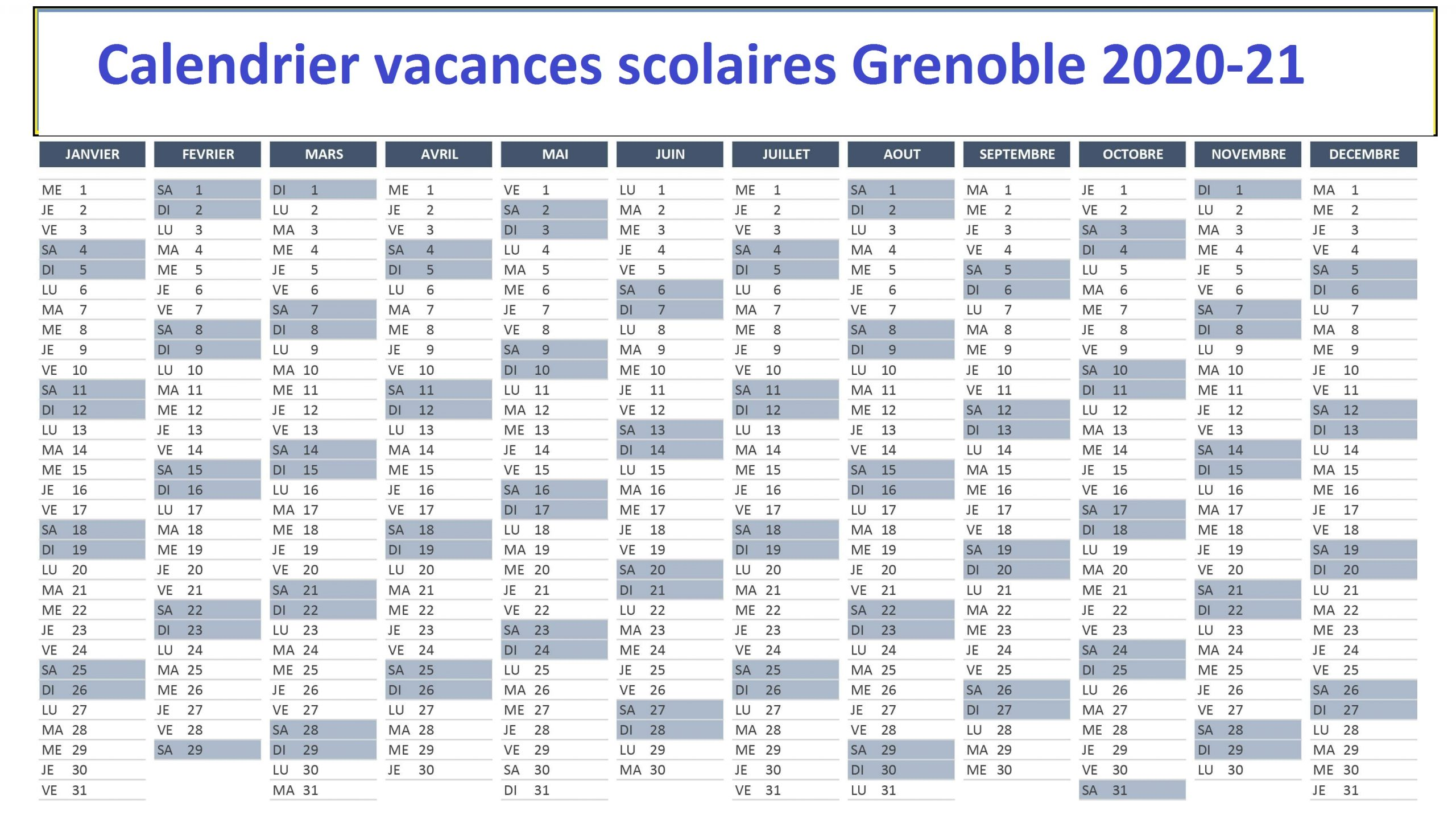 Calendrier vacances scolaires Grenoble 2020 21 Pdf