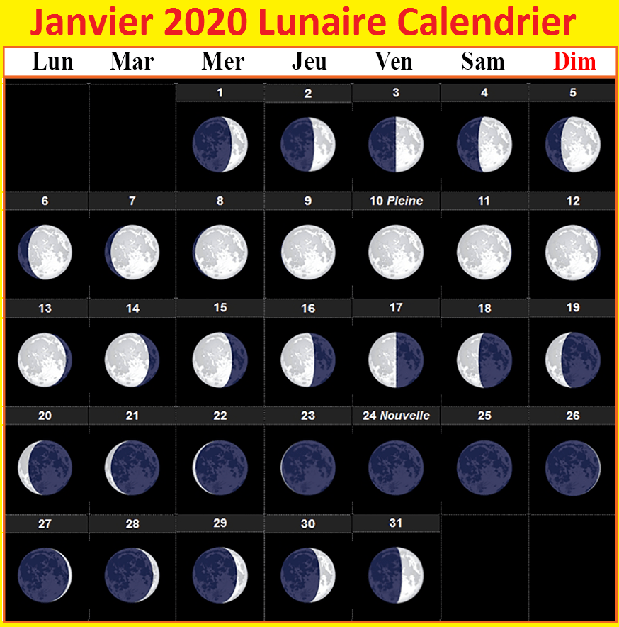 Calendrier lunaire de janvier 2020 PDF