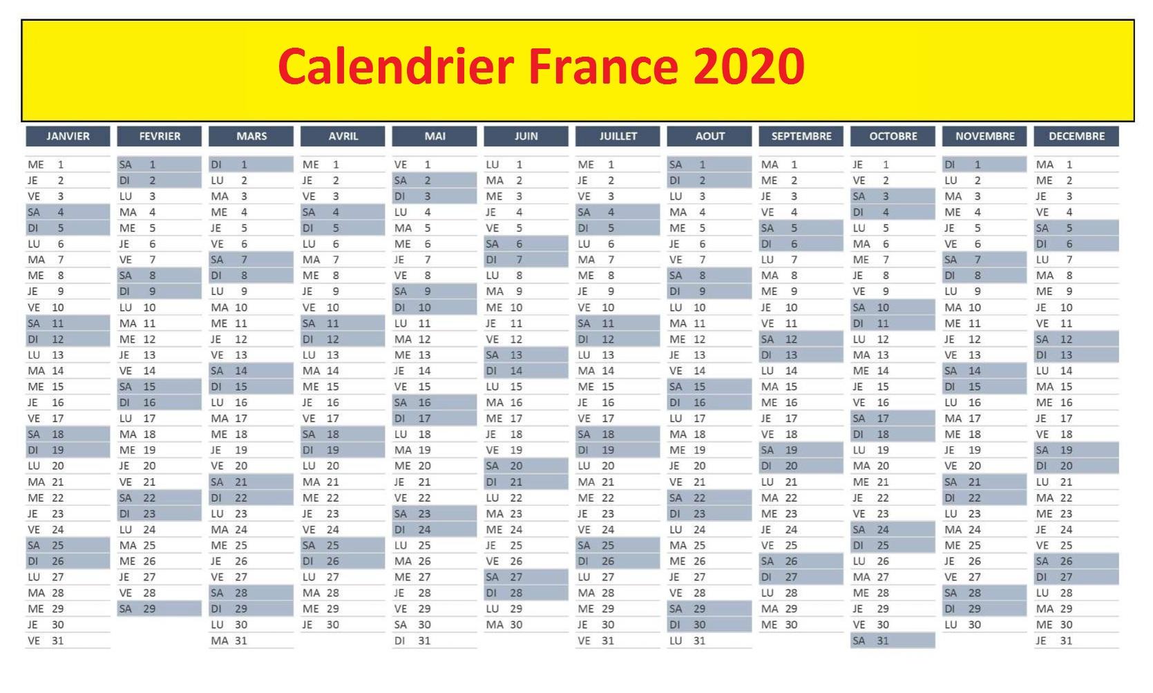 Calendrier 2020 France Avec Jours Fériés
