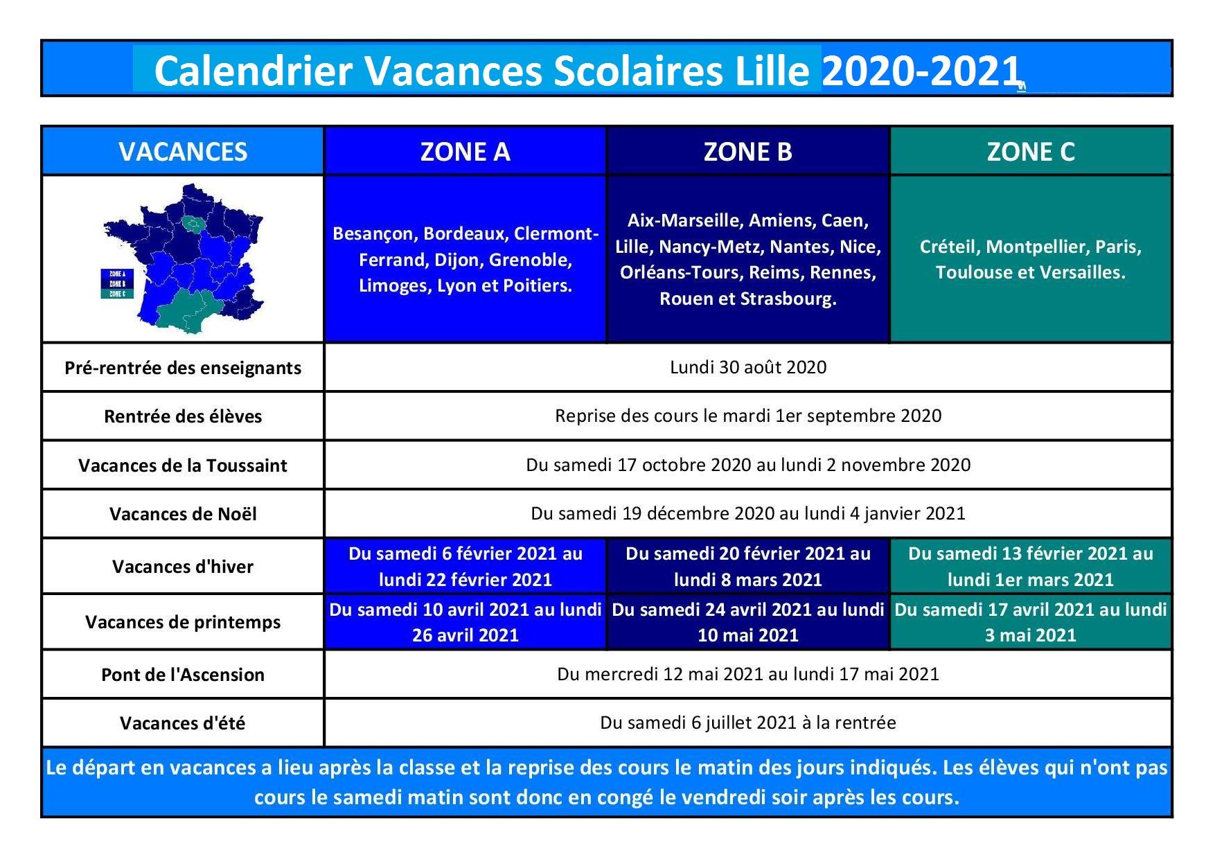 Calendrier Vacances Scolaires 2020 Academie De Lille