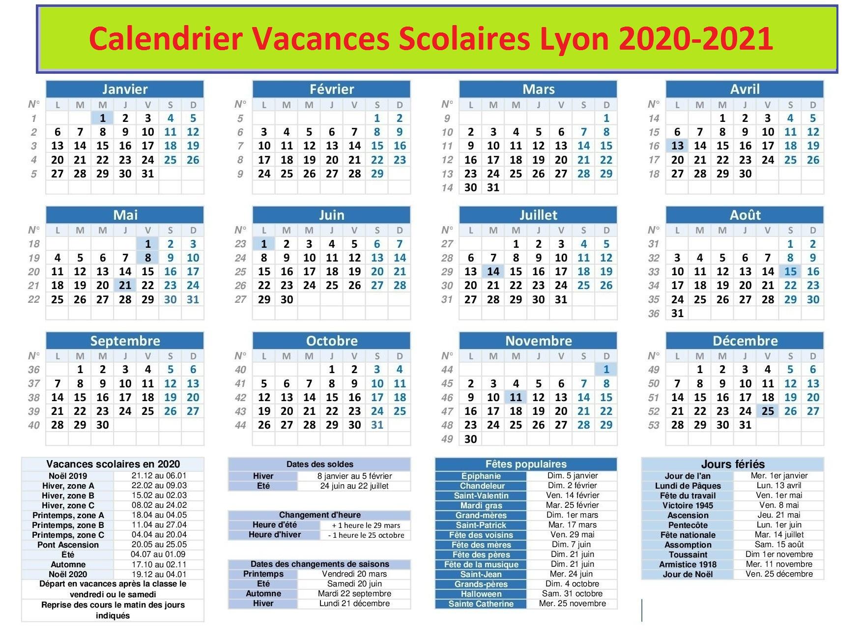 Vacances Scolaires 2019 et 2020 Lyon