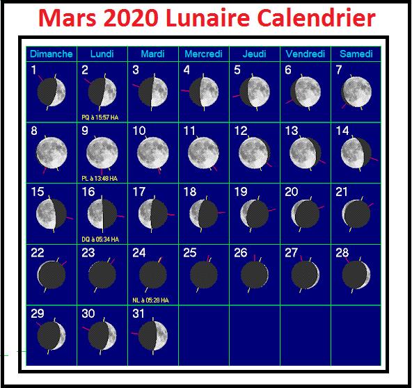 Imprimable Calendrier Lunaire Mars 2020 [Pdf]