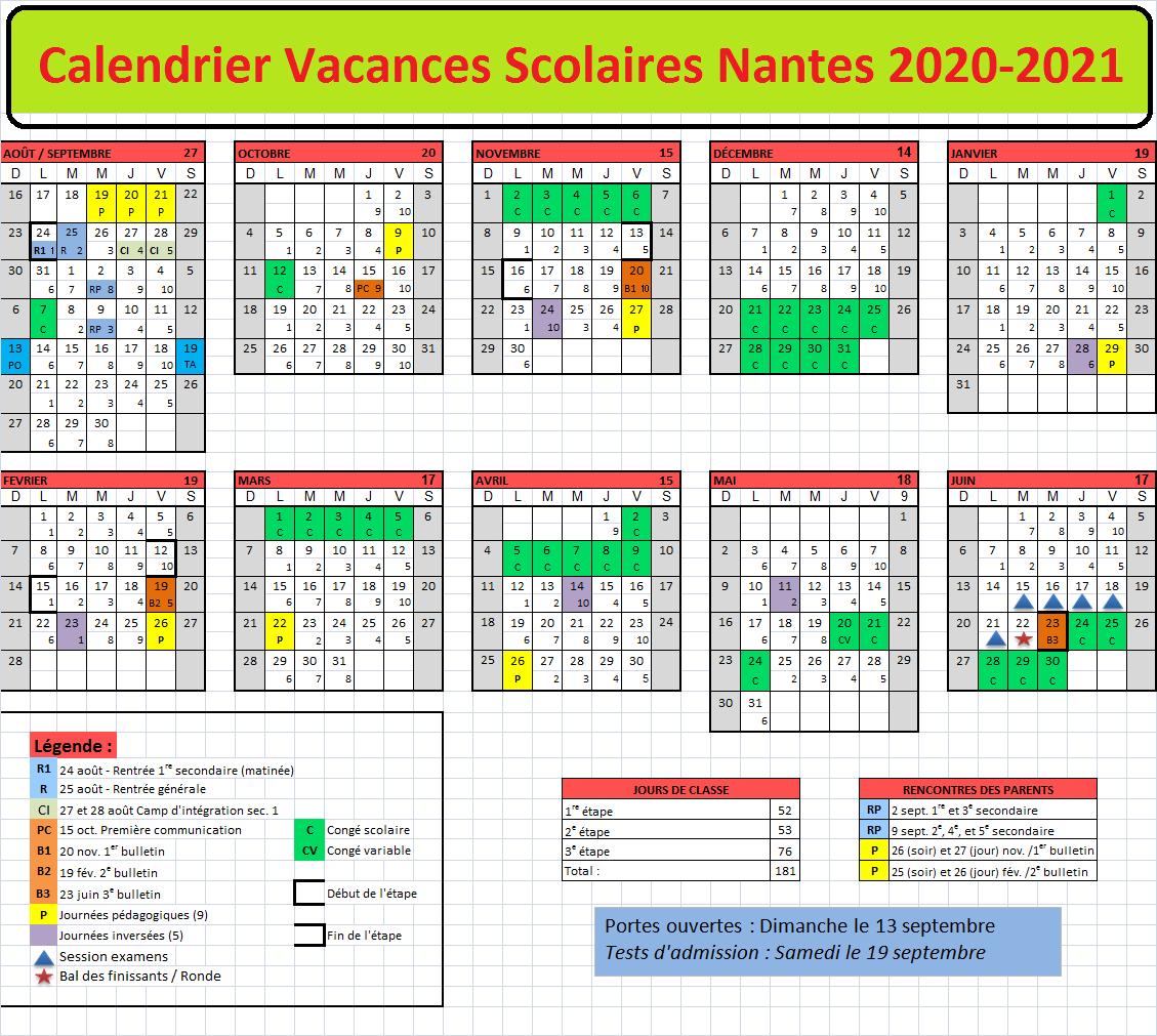 Calendrier Vacances Scolaires 2021 Nantes Calendrier Vacances Scolaires Nantes 2020 2021 Pdf