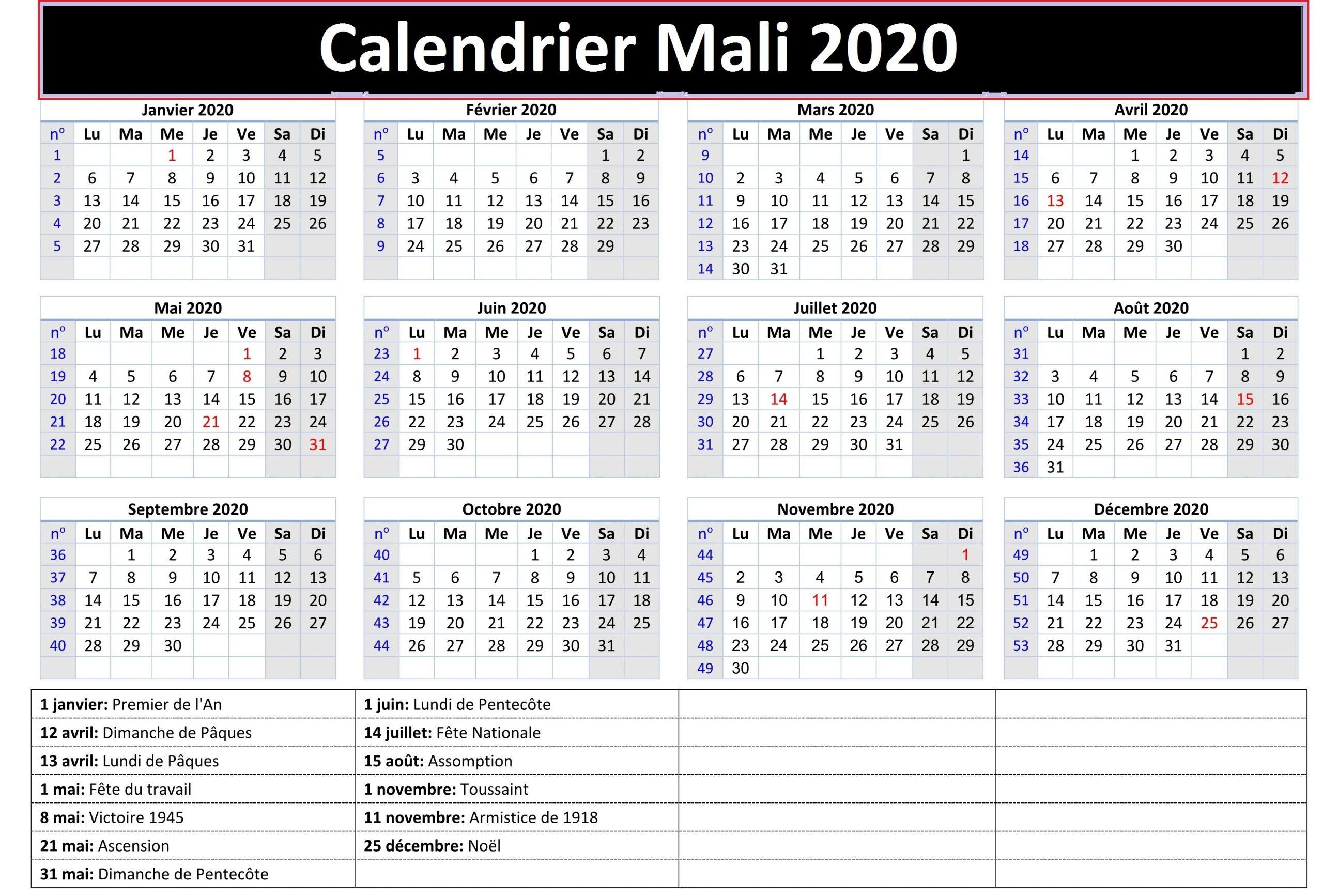 Mali Calendrier 2020 Foot