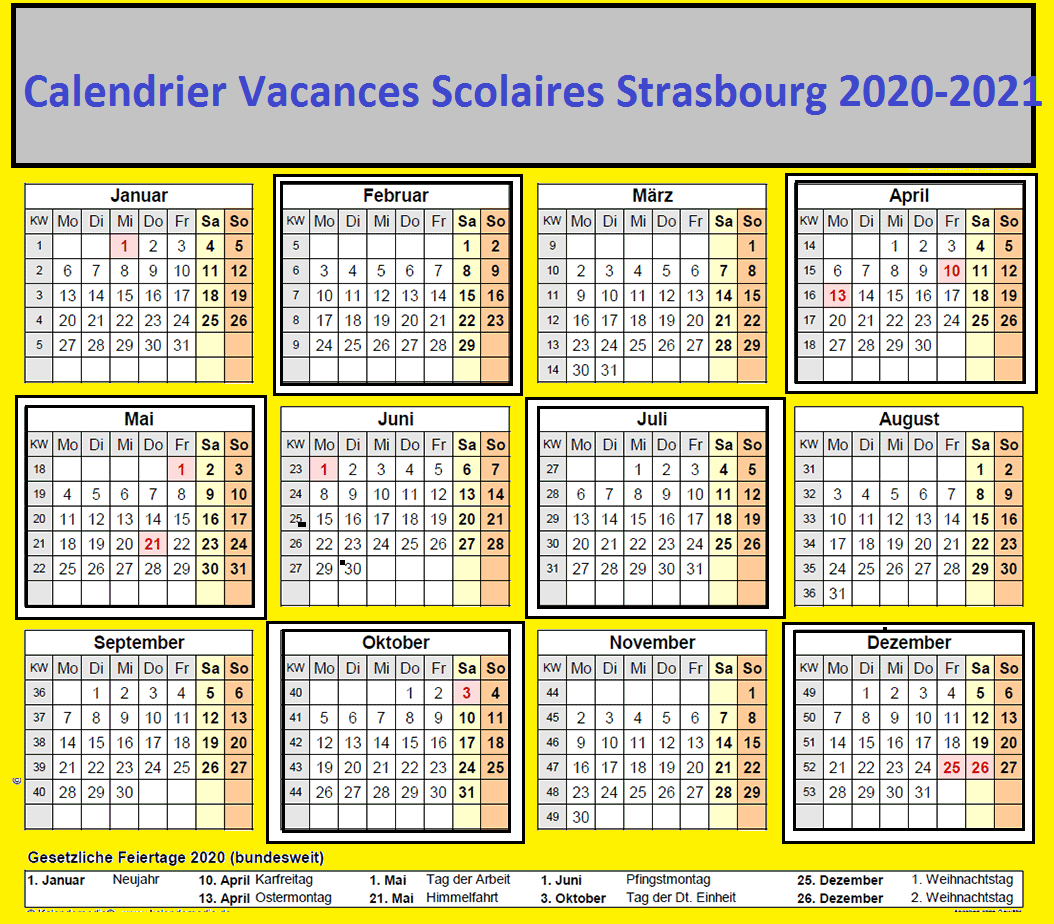 Calendrier Vacances Scolaires Strasbourg 2020 21Pdf