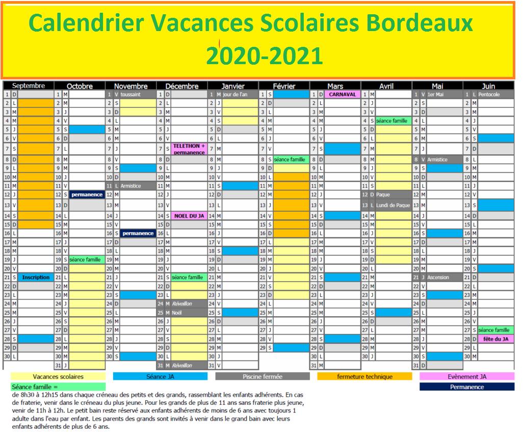 Calendrier Scolaire 2020-2021 en Bordeaux