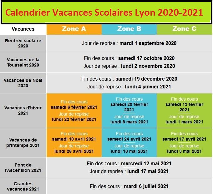 Lyon Calendrier scolaire 2020-2021 à Imprimer