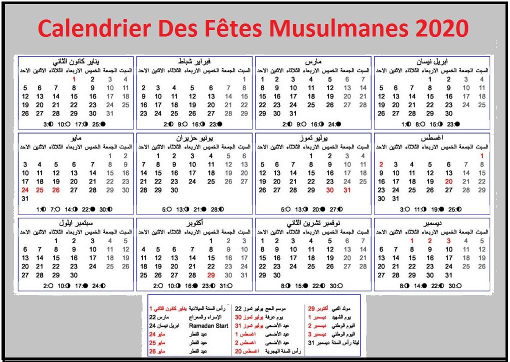Calendrier Des Fêtes Musulmanes 2020