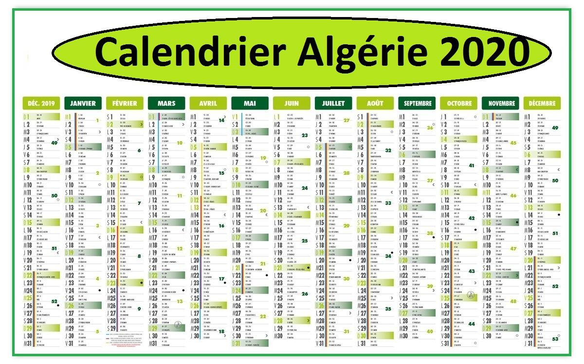Calendrier 2020 Algérie Excel