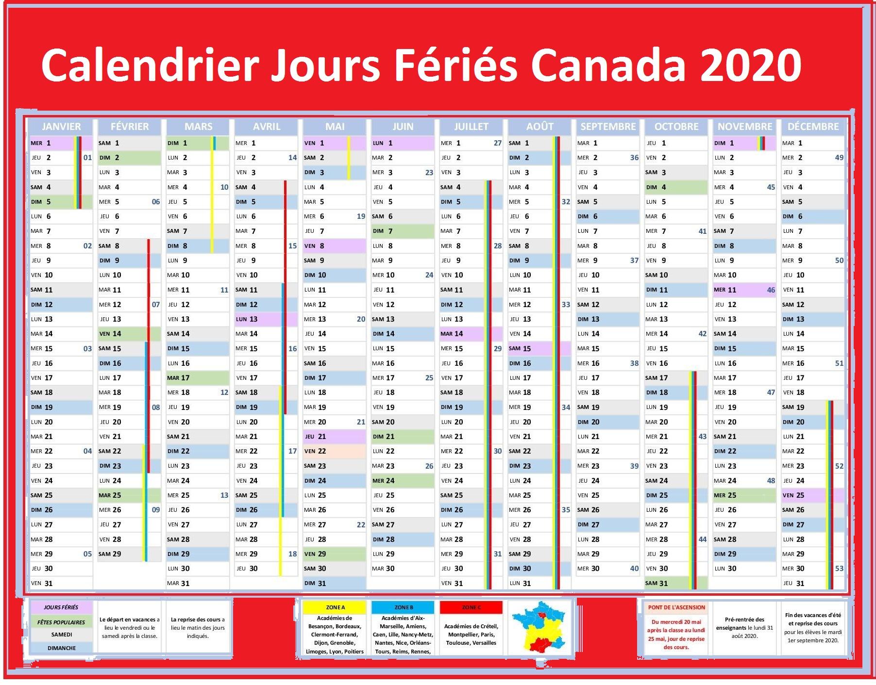 Calendrier Des Jours Fériés Du Canada 2020