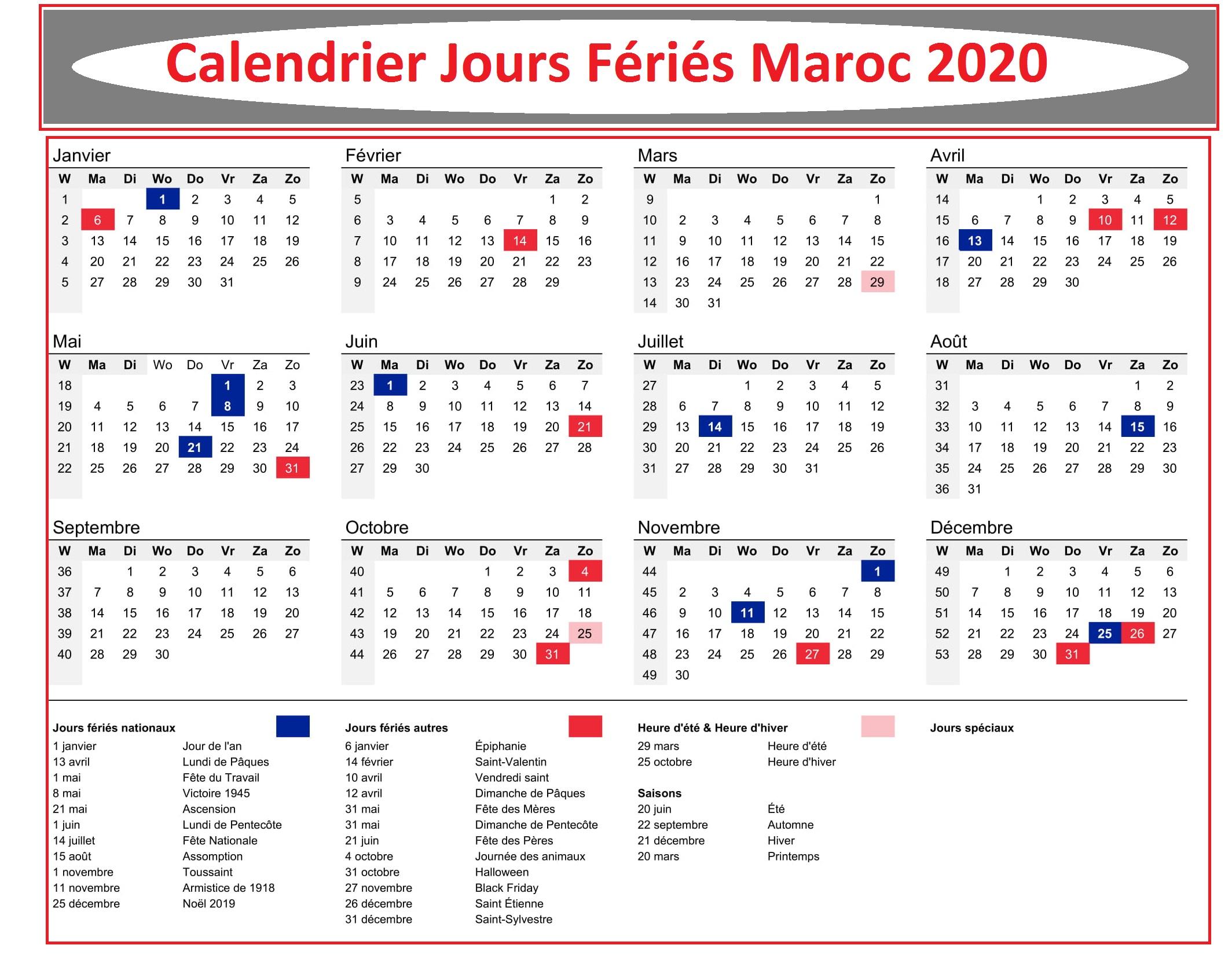 Calendrier Des Jours Fériés Au Maroc 2020