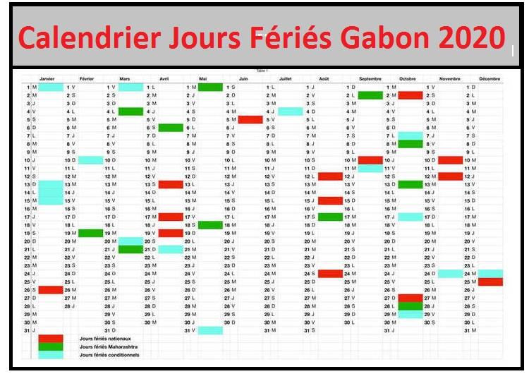 Calendrier 2020 Gabon Avec Jours Fériés Pdf