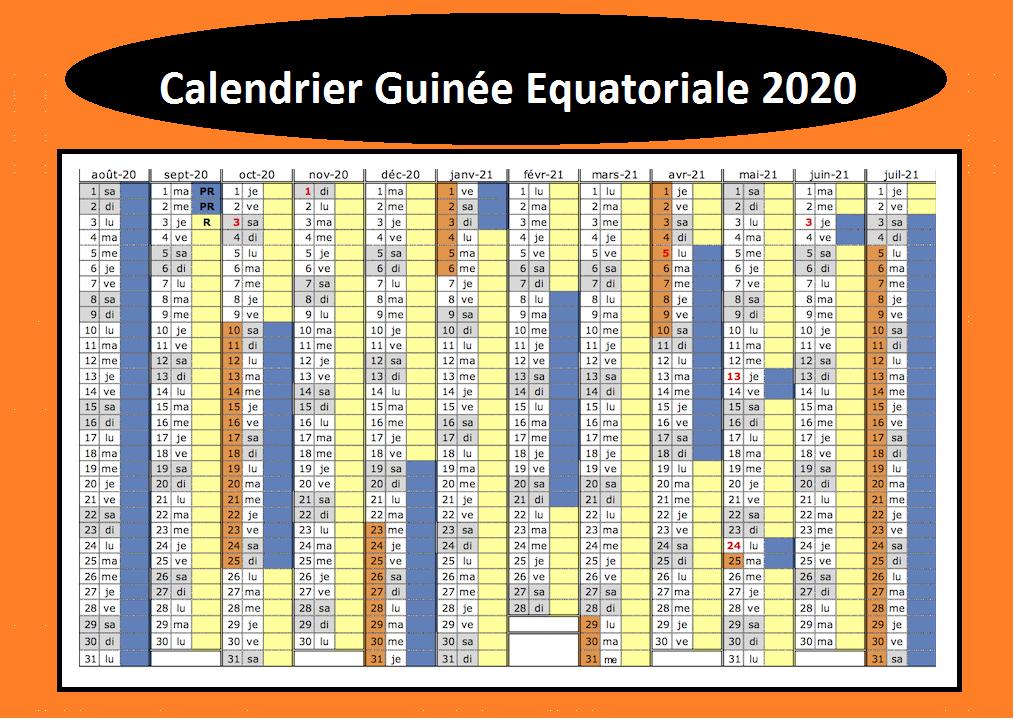 Jours Fériés Equatorials Guinée 2020