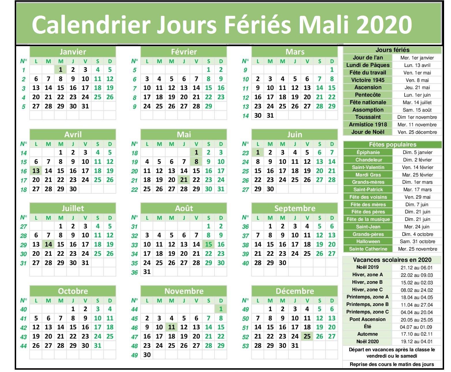 Calendrier Des Jours Fériés Au Mali 2020