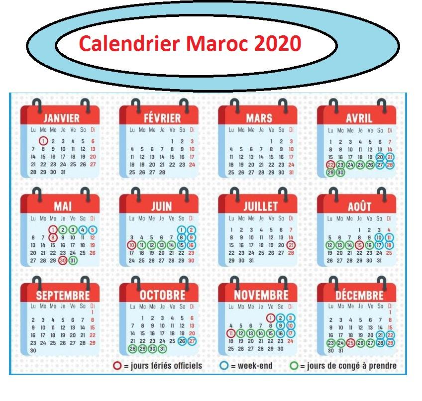 Calendrier 2020 Maroc Avec Jours Feries