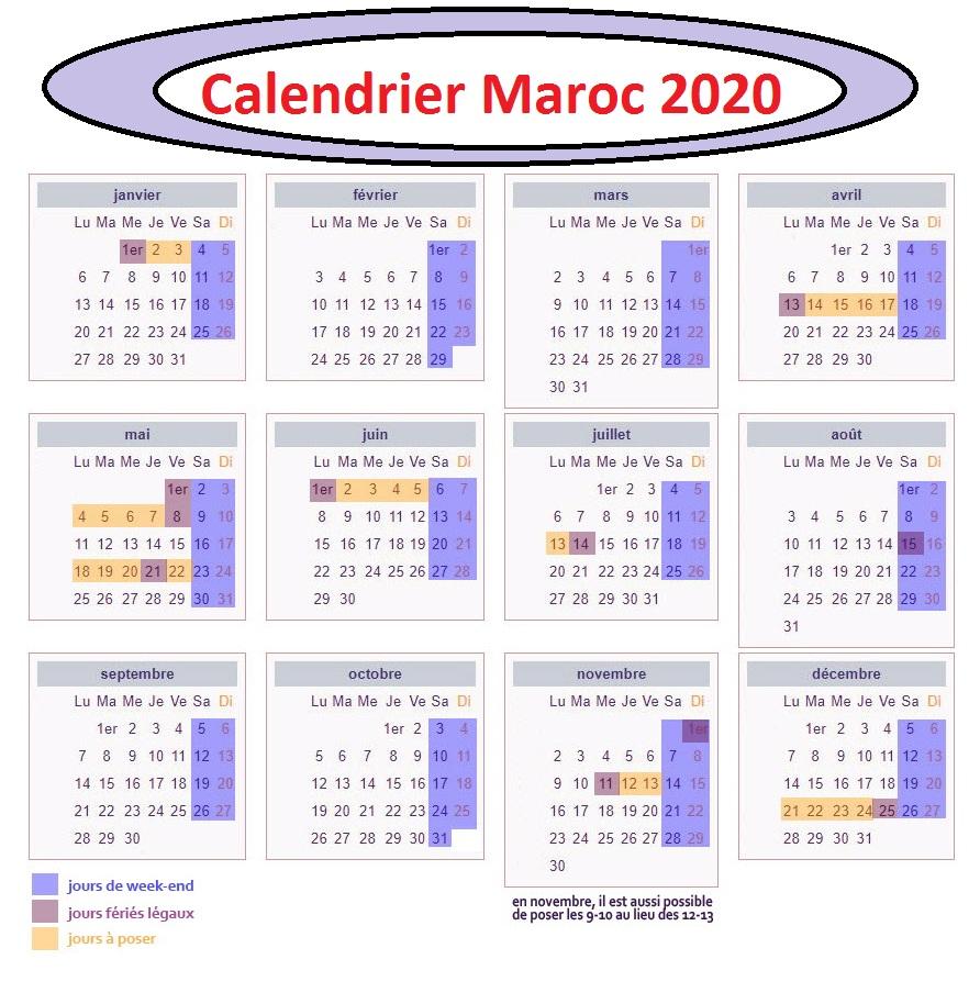 Calendrier 2020 Maroc Ramadan