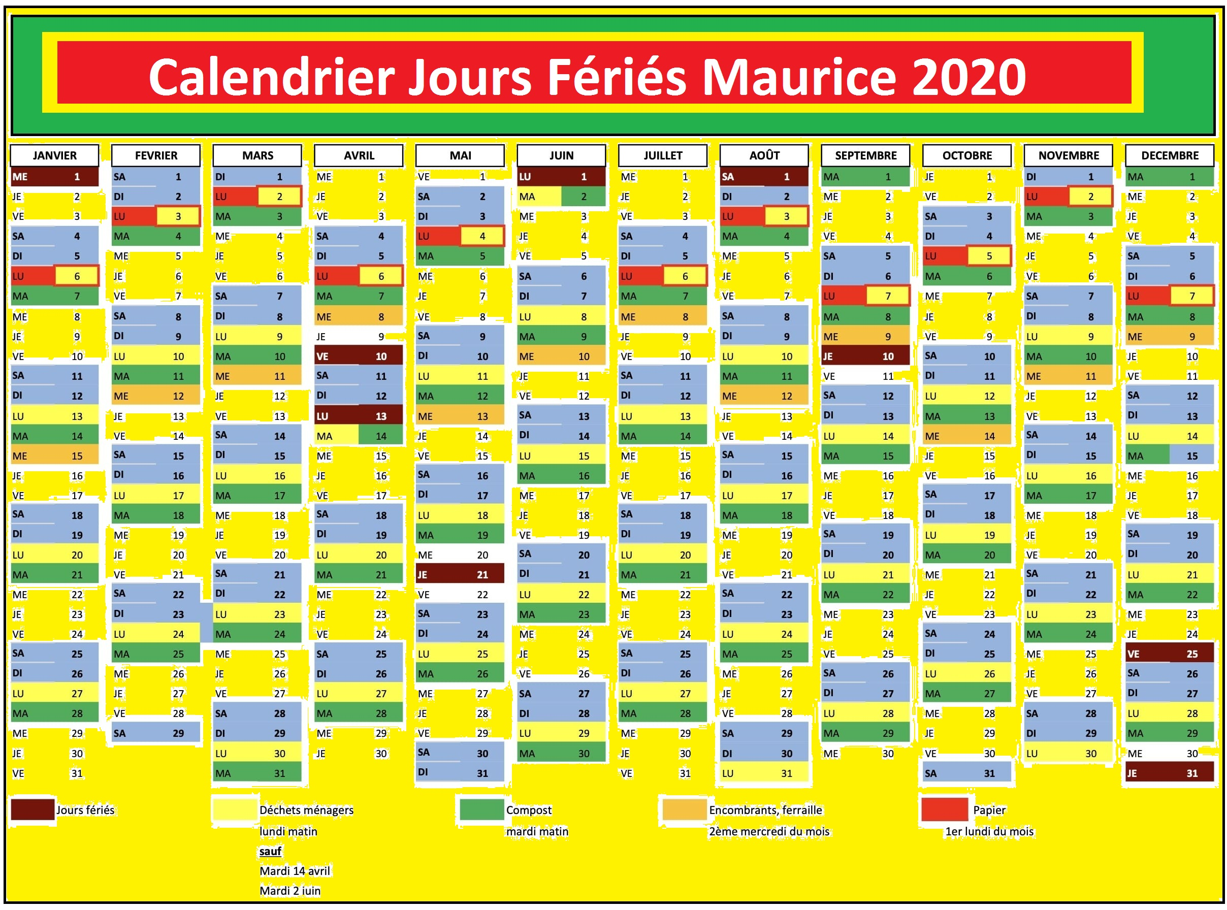 Jours Feries ile Maurice 2020