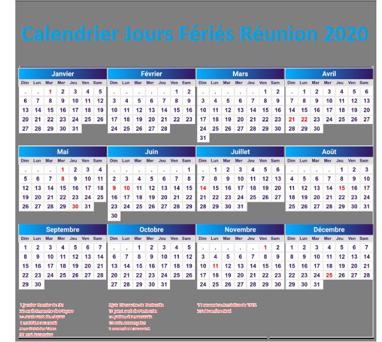 Calendrier 2020 Réunion Avec Jours Fériés Pdf