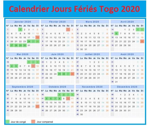 Calendrier Des Jours Fériés Au Togo 2020