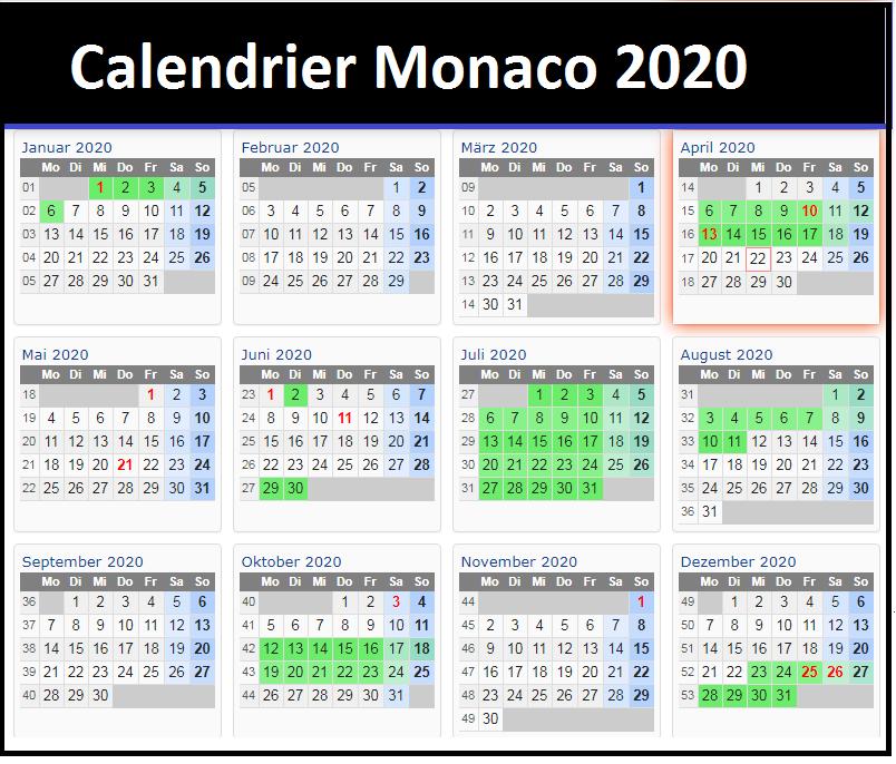 Calendrier Scolaire Monaco 2020