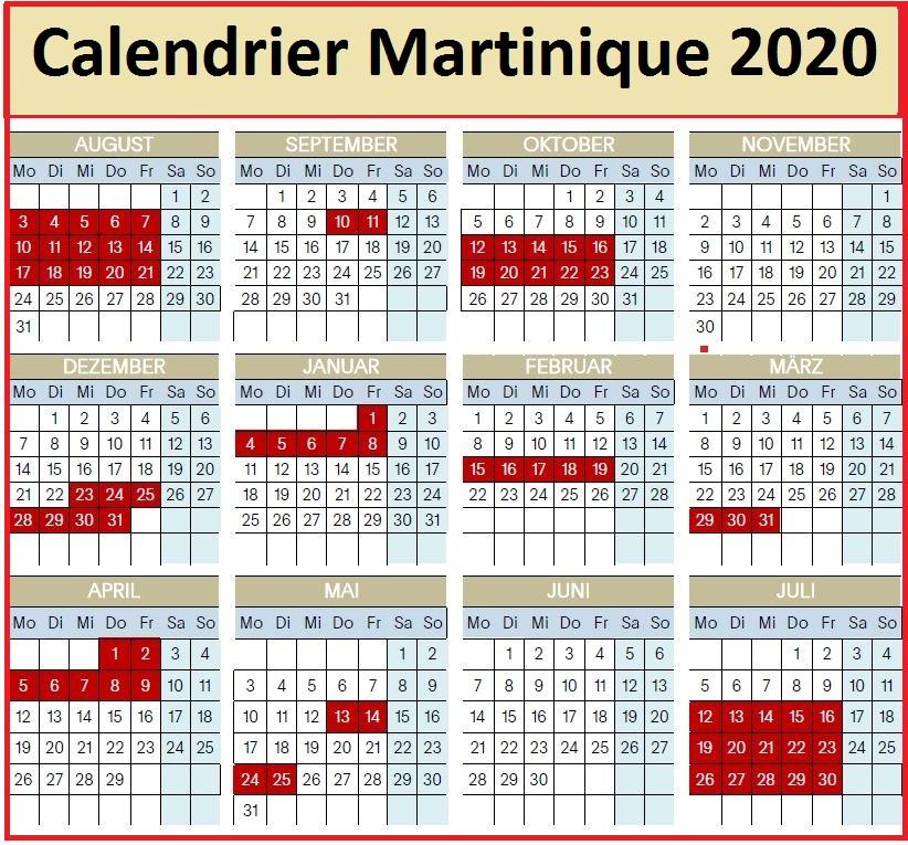 Calendrier Vacances Martinique 2020