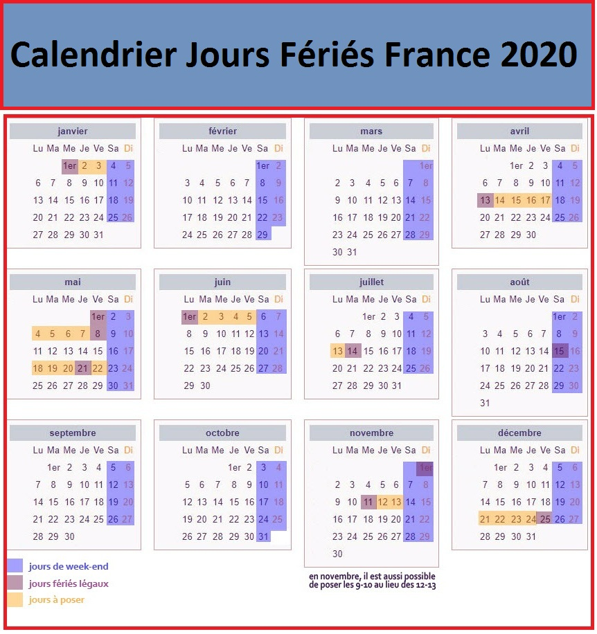 Calendrier Jours Feries France 2020 Et 2021