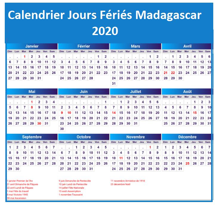 Calendrier Des Jours Fériés Au Madagascar 2020