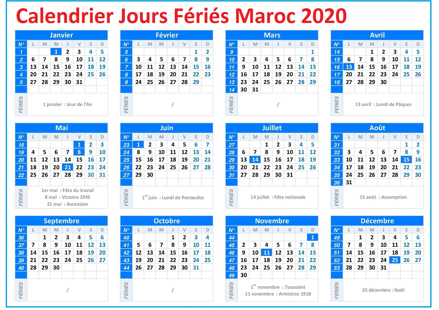 Calendrier 2020 Maroc Avec Jours Fériés A Imprimer